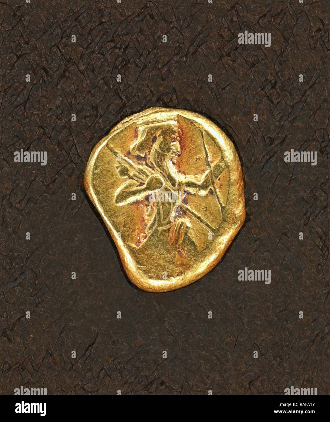 Daric, Persia, 5th - 4th century B.C, Gold, 0.0083 kg (0.0183 lb.). Reimagined by Gibon. Classic art with a modern reimagined - Stock Image