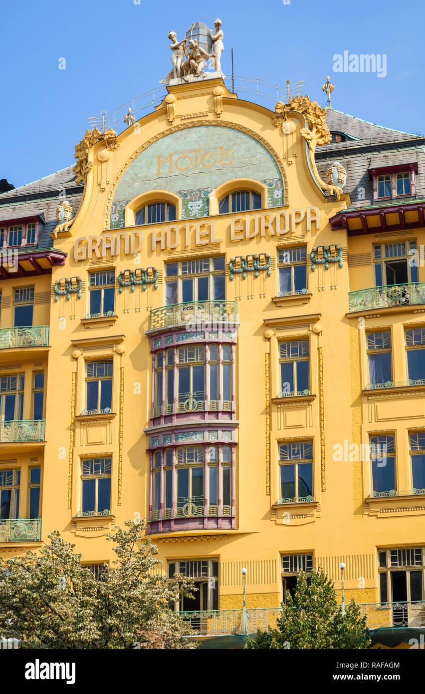 Prague Grand Hotel Europa an Art Nouveau building on Wenceslas Square historic Centre Vaclavske namesti Prague Czech Republic Europe - Stock Image