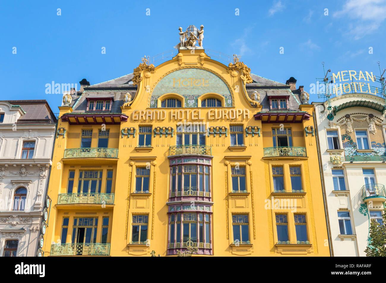 Prague Grand Hotel Europa Prague an Art Nouveau hotel building on Wenceslas Square historic Centre Vaclavske namesti Prague Czech Republic Europe - Stock Image