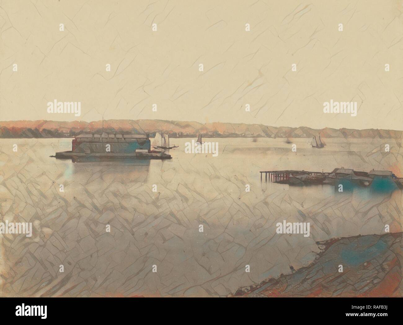 Fort Hamilton and Long Island, Attributed to Silas A. Holmes (American, 1820 - 1886), about 1855, Salted paper print reimagined - Stock Image