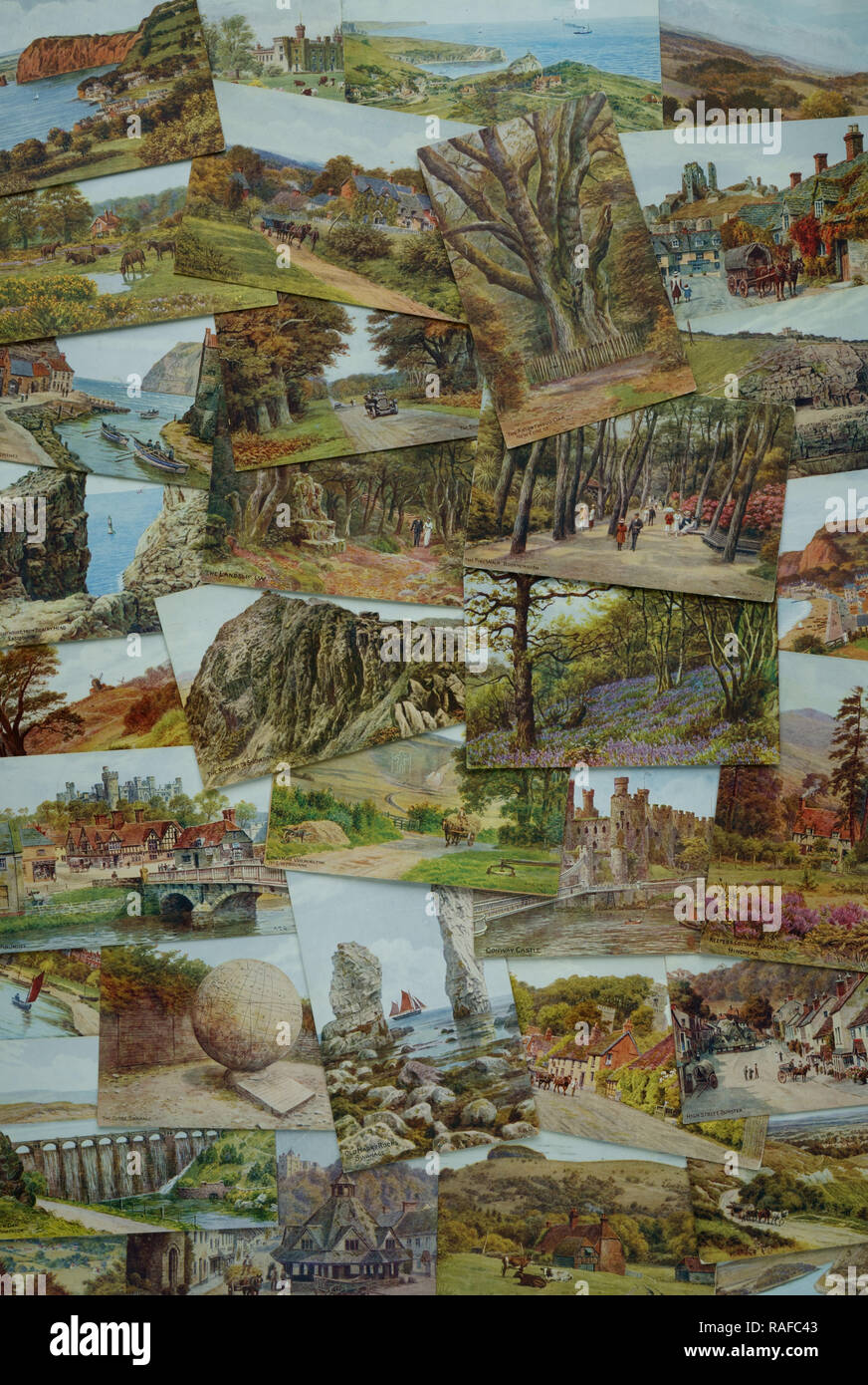 Assortment  of Salmon postcards by A R Quinton - Stock Image
