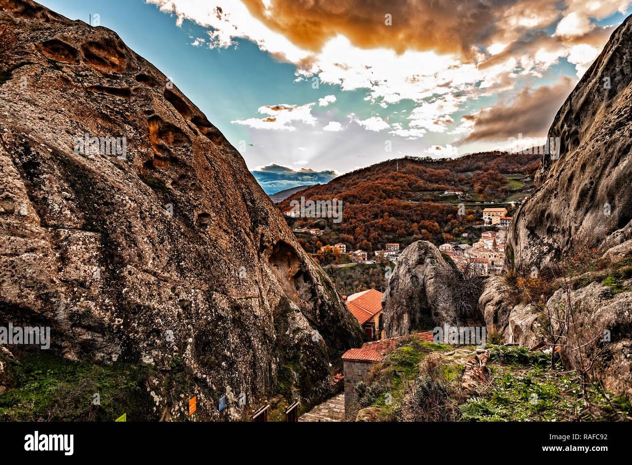 Italy Basilicata Dolomiti Lucane Castelmezzano climb to the remains of the castle Stock Photo