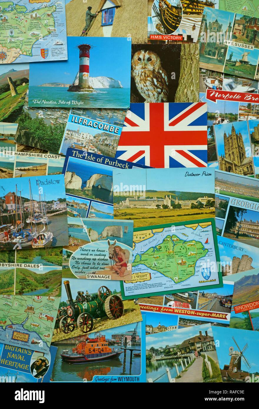 Assortment of Salmon postcards - Stock Image