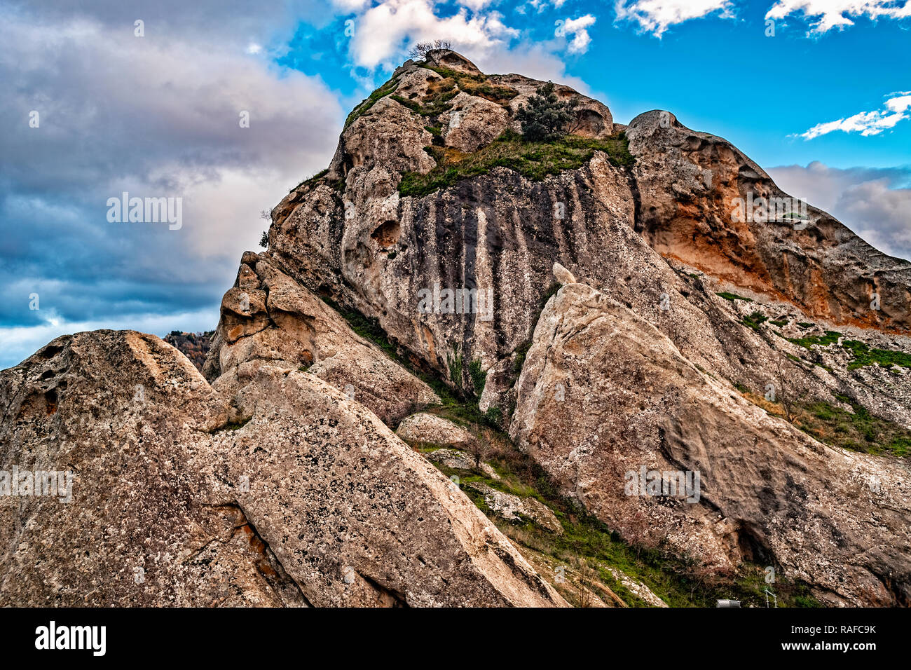 Italy Basilicata Dolomiti Lucane Castelmezzano seen from the castle Stock Photo