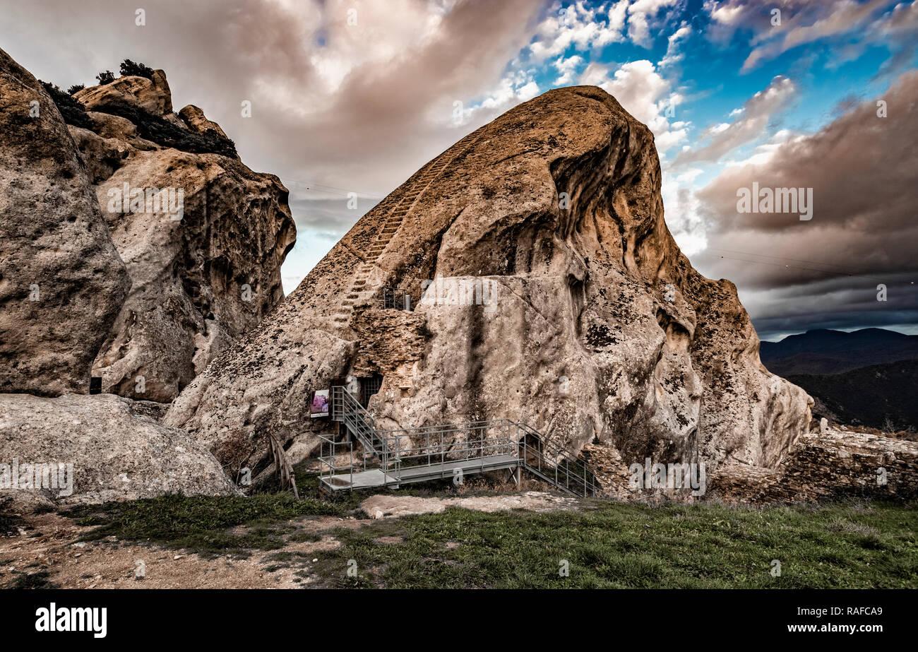 Italy Basilicata Dolomiti Lucane Castelmezzano remains of the castle ladder in the rock - Stock Image