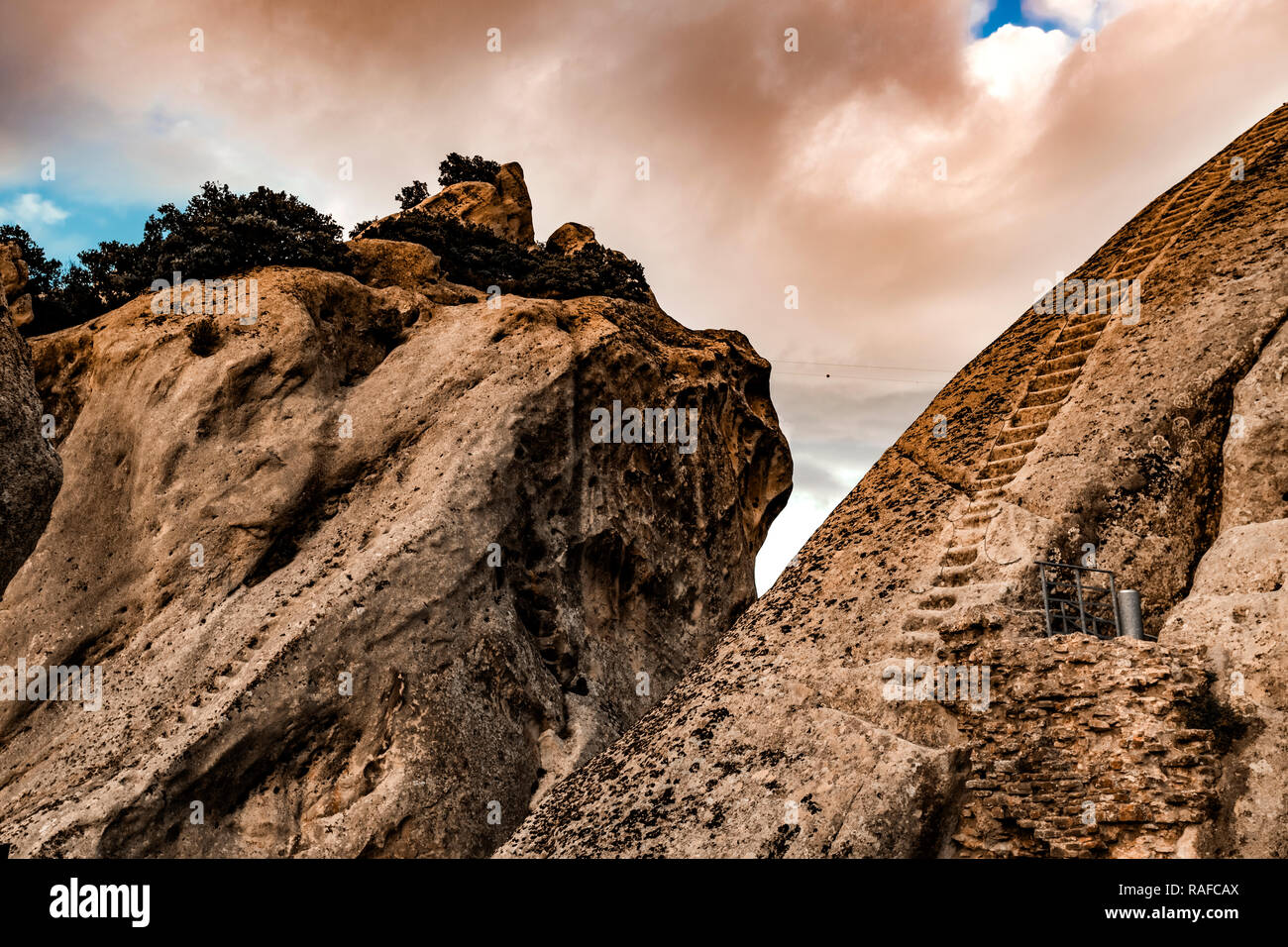 Italy Basilicata Dolomiti Lucane Castelmezzano remains of the castle ladder in the rock - Stock Image