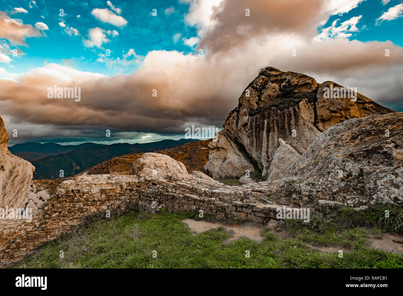 Italy Basilicata Dolomiti Lucane Castelmezzano seen from the castle - Stock Image