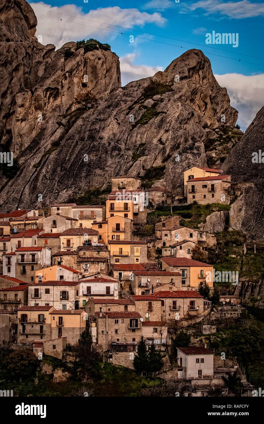 Italy Basilicata Dolomiti Lucane Castelmezzano view Stock Photo