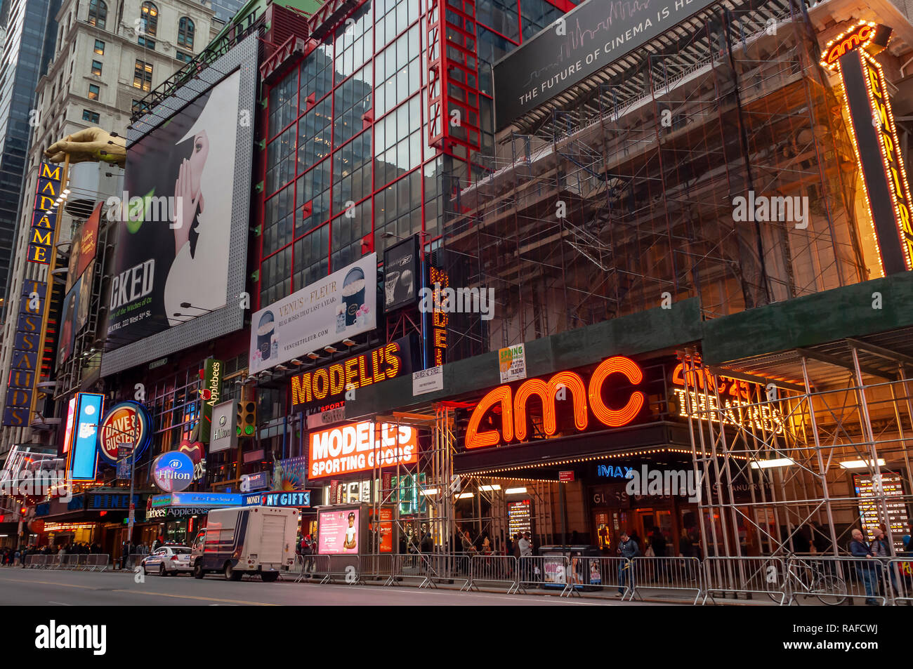 The AMC 25 Theatre in Times Square in New York on Monday, December 24, 2018. Hollywood has already reported a blockbuster year with over $11.83 billion in ticket sales, citing multiple hits, and there is still the lucrative Christmas week to go to finish off the year. (© Richard B. Levine) Stock Photo
