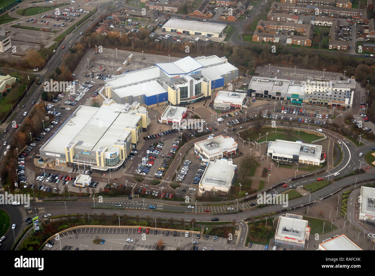 aerial view of the Cheshire Oaks Outlet Village, Ellesmere Port, UK - Stock Image