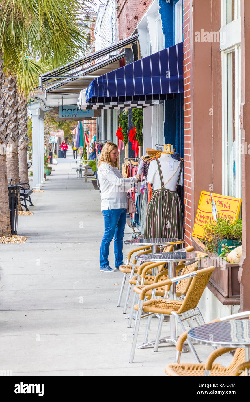 Commercial historic district of Apalachicola in the Panhandle area or Forgotten Coast of Florida in the United States - Stock Image