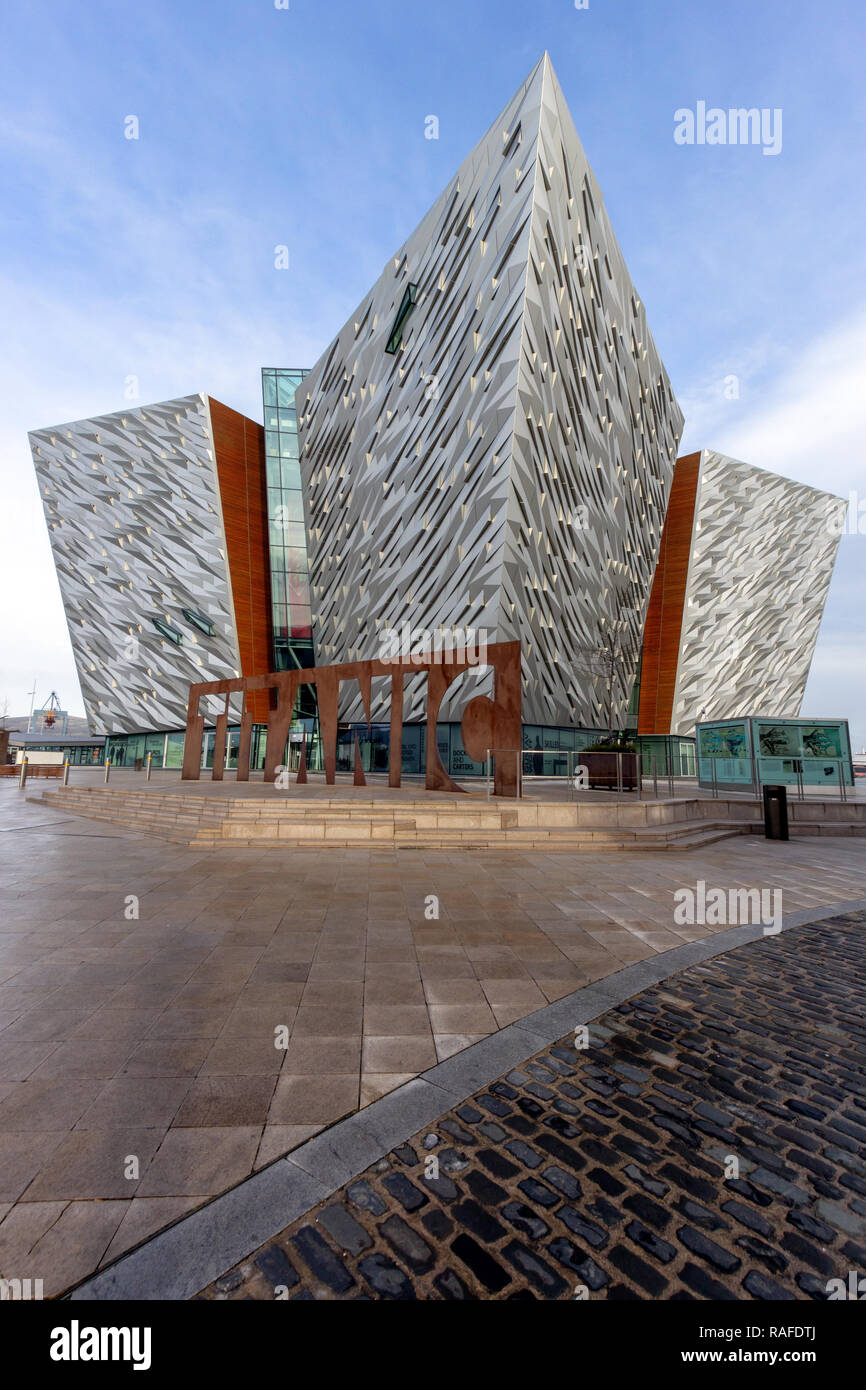 BELFAST, NORTHERN IRELAND - FEB 9, 2014: Titanic Belfast visitor attraction and a monument. - Stock Image