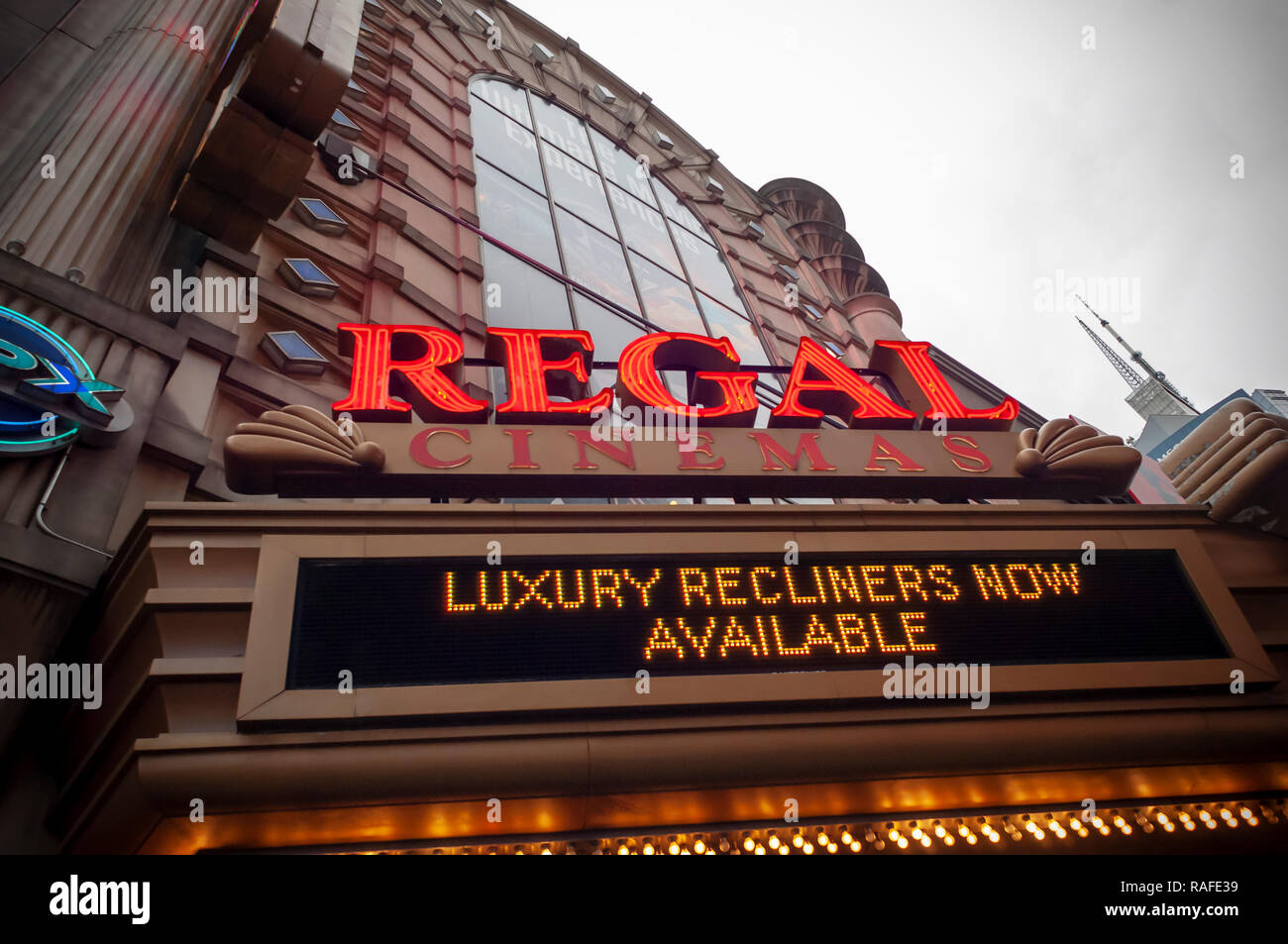 The Regal Cinemas in Times Square in New York on Monday, December 24, 2018. Hollywood has already reported a blockbuster year with over $11.83 billion in ticket sales, citing multiple hits, and there is still the lucrative Christmas week to go to finish off the year. (© Richard B. Levine) Stock Photo