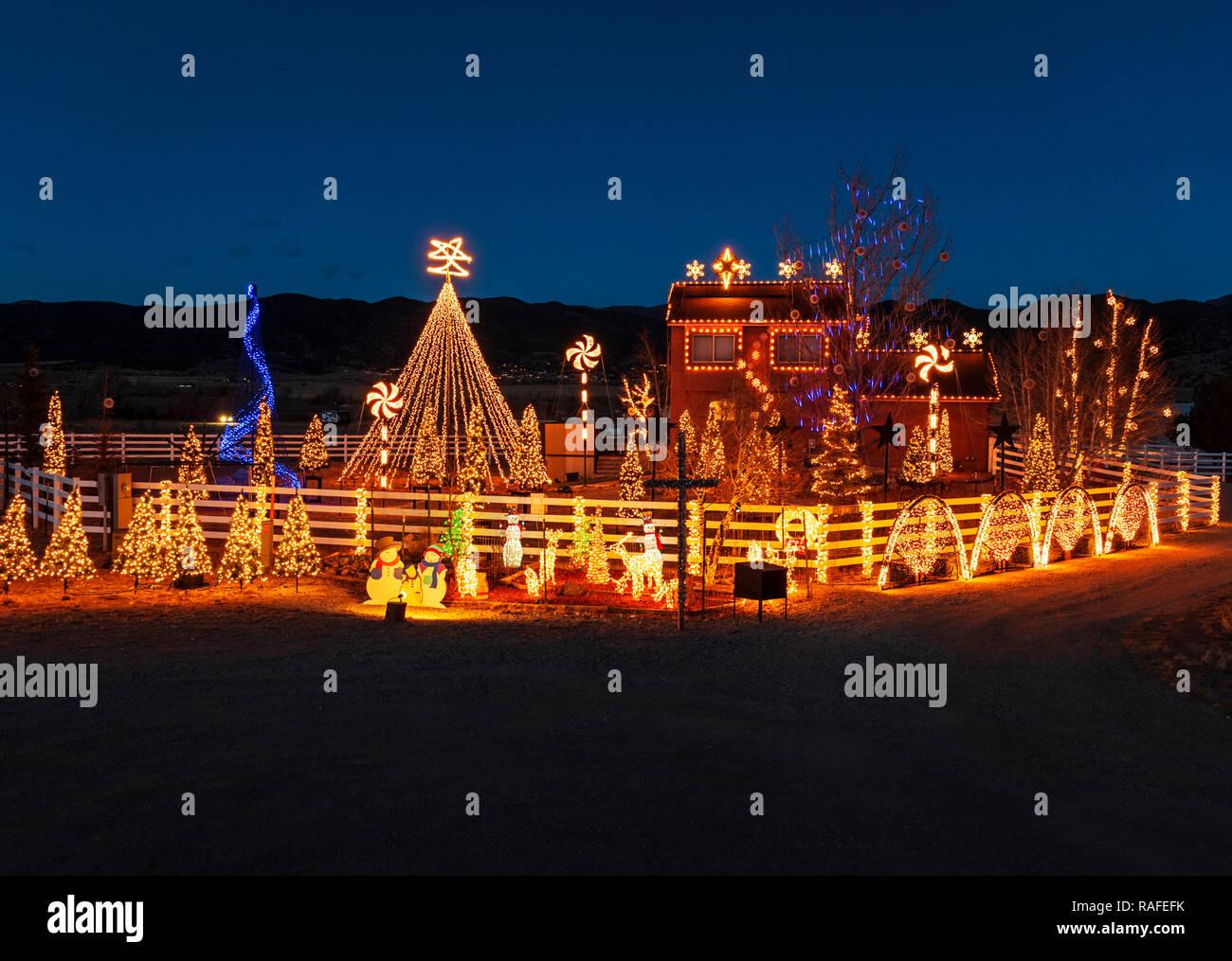 Dusk view of over 140,000 Christmas holiday lights adorn the Gross home; Salida; Colorado