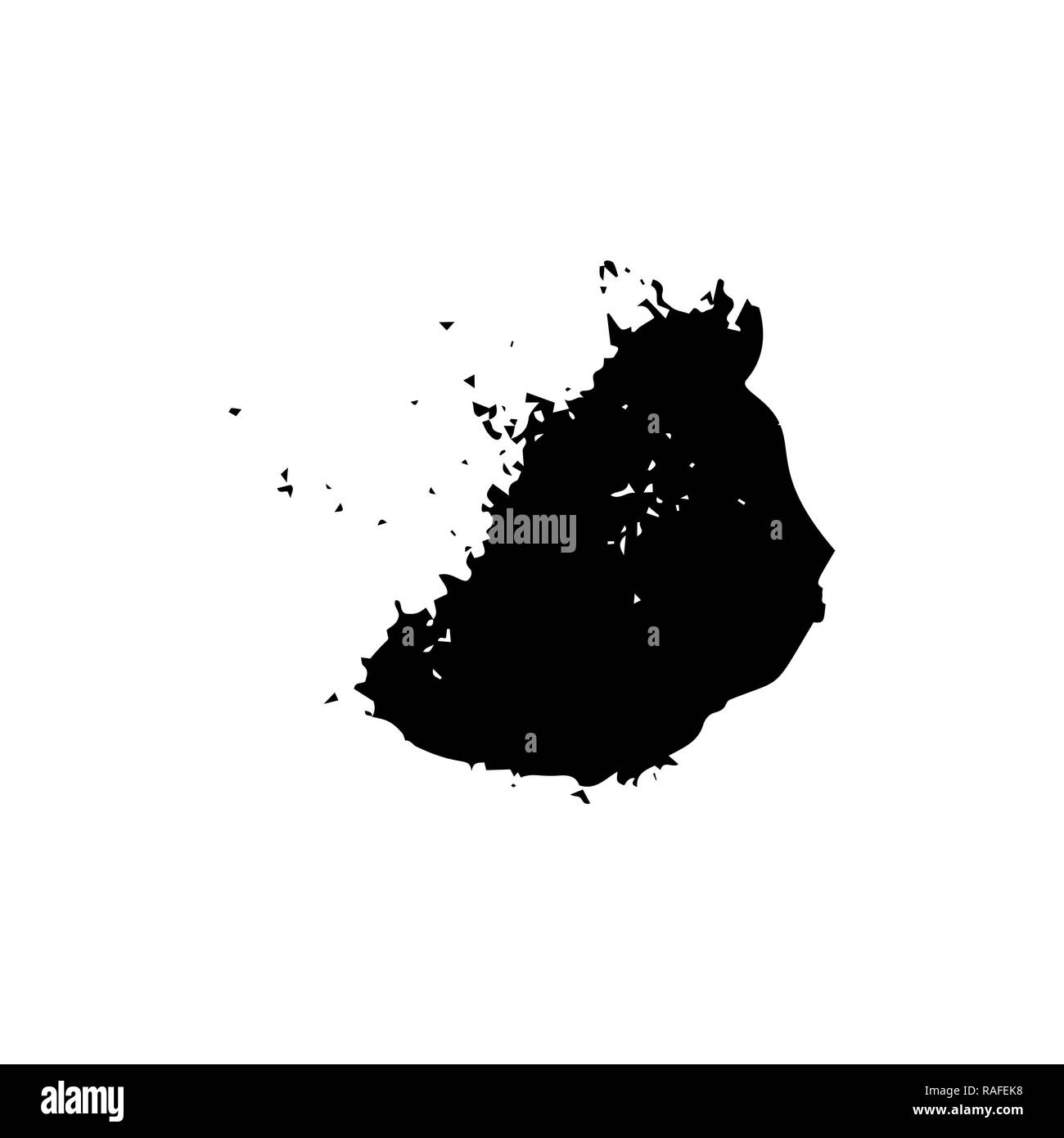 Ebony ink blob. Black blotch on white background. Ink splatter with droppings. Black paint spilled drop cover and textile design element. Paint blob. Inkblot on paper. Isolated vector illustration - Stock Image