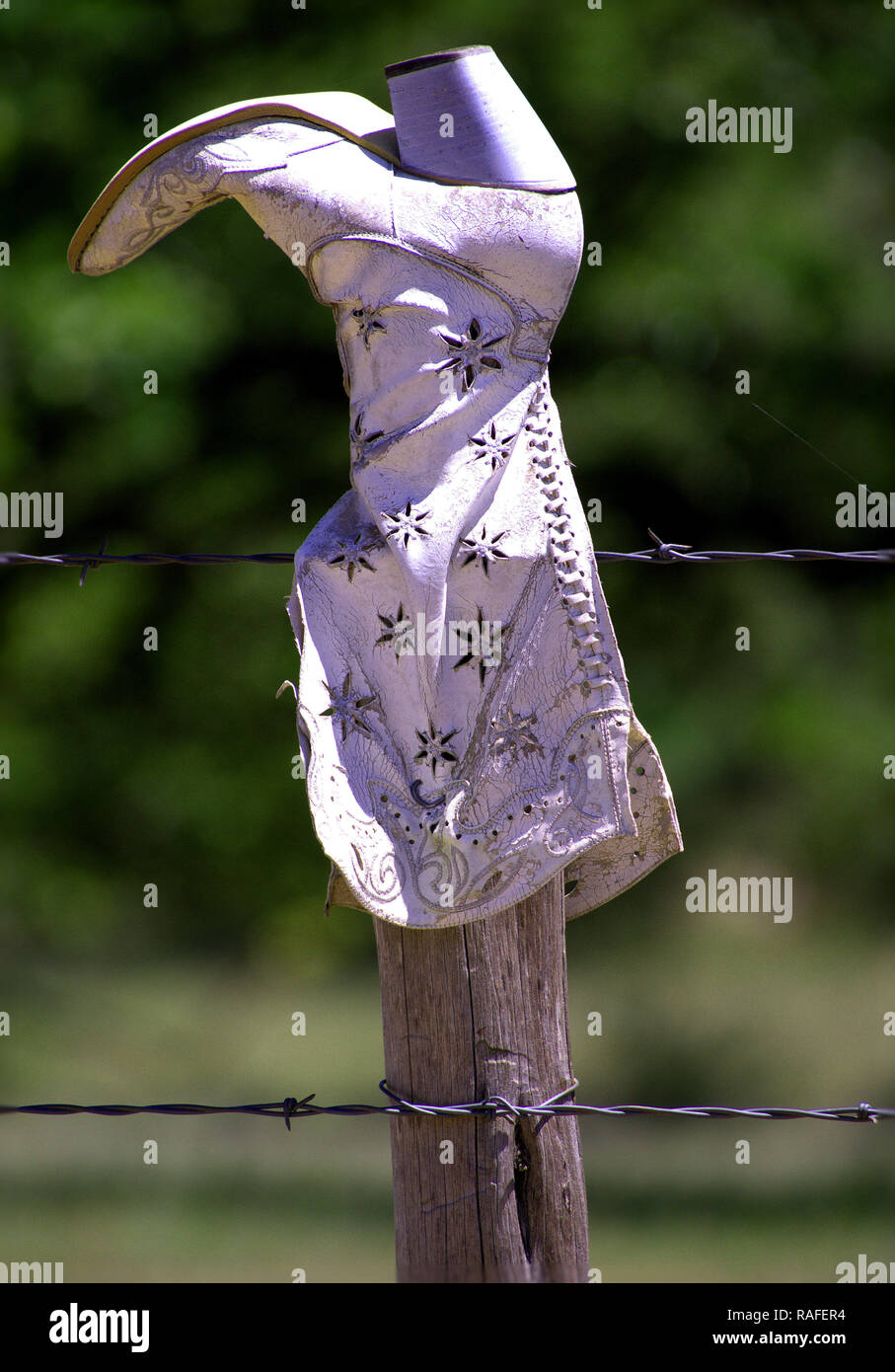 Boot Adorning Fence Central Texas - Stock Image
