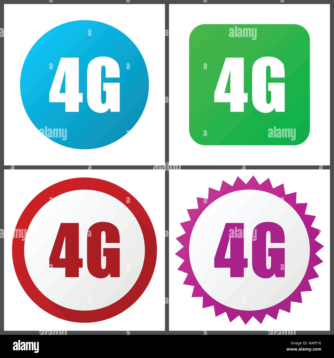 4g vector icon set. Flat design web icons in eps 10. Colorful internet buttons in four versions - Stock Image