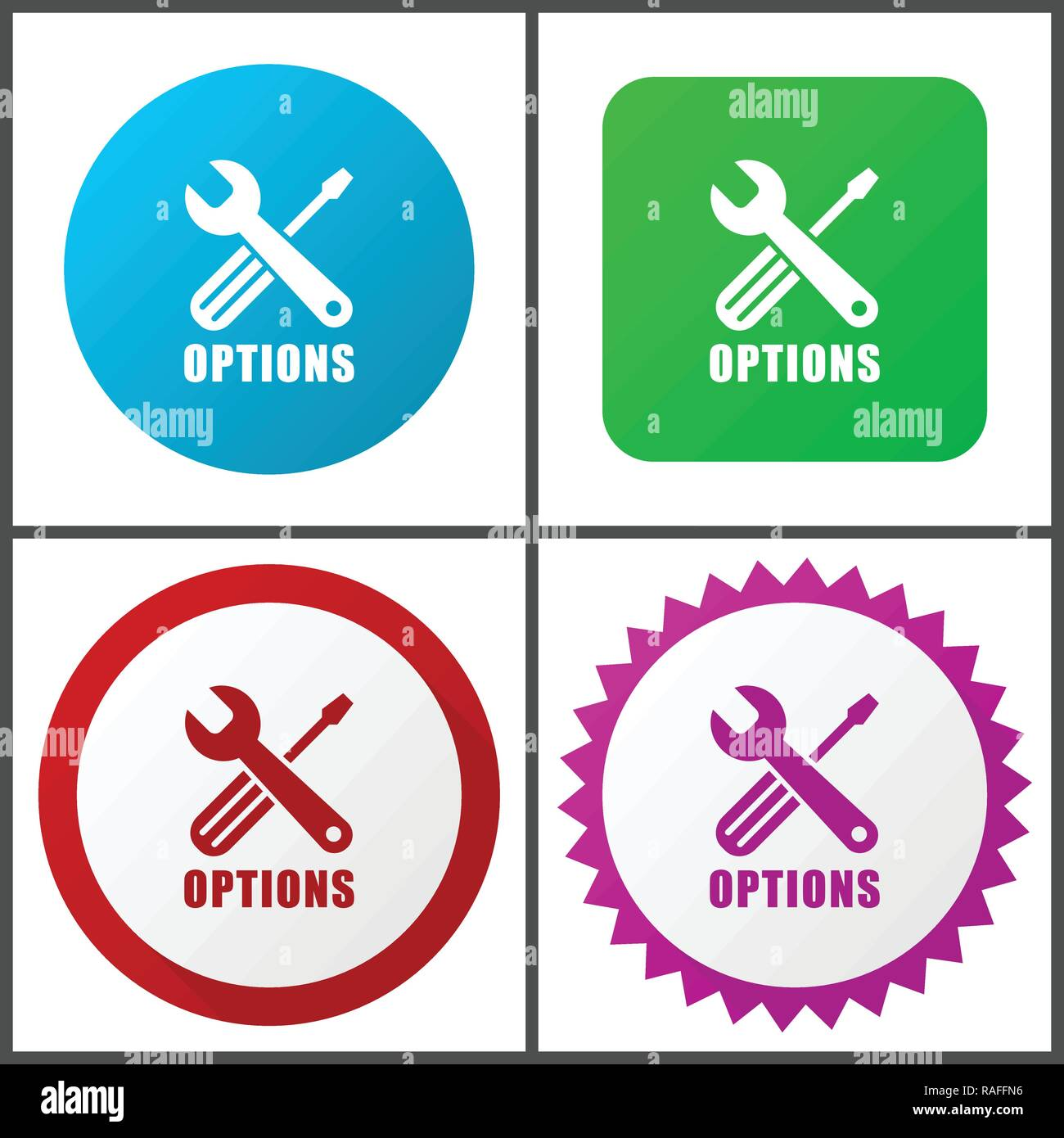 Options vector icon set. Flat design web icons in eps 10. Colorful internet buttons in four versions - Stock Vector