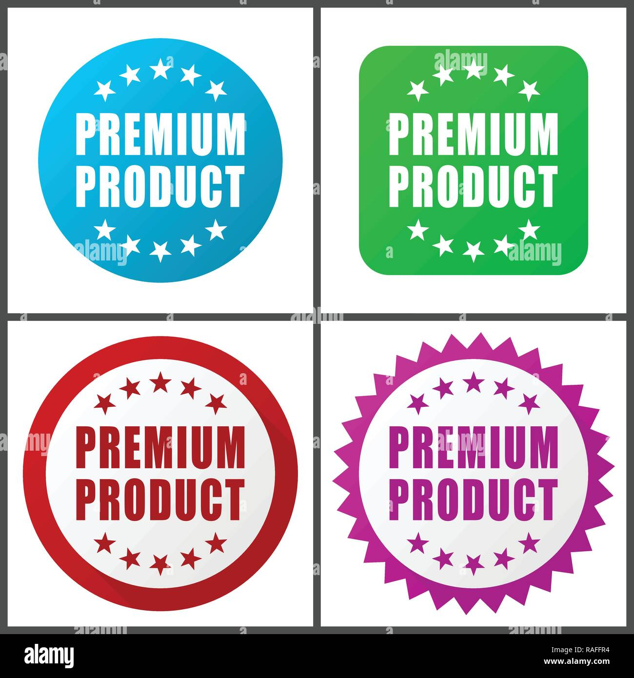Premium product vector icon set. Flat design web icons in eps 10. Colorful internet buttons in four versions - Stock Vector
