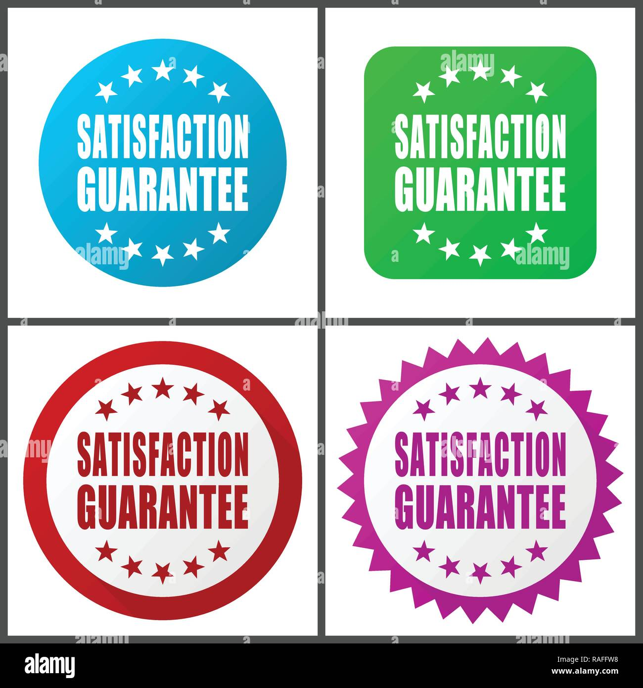 Satisfaction guarantee vector icon set. Flat design web icons in eps 10. Colorful internet buttons in four versions - Stock Vector