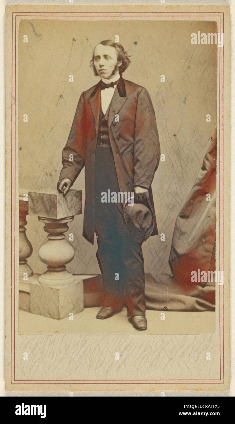 man with long sideburns, standing, holding his hat in his left hand, George Kendall Warren (American, 1834 - 1884 reimagined - Stock Image