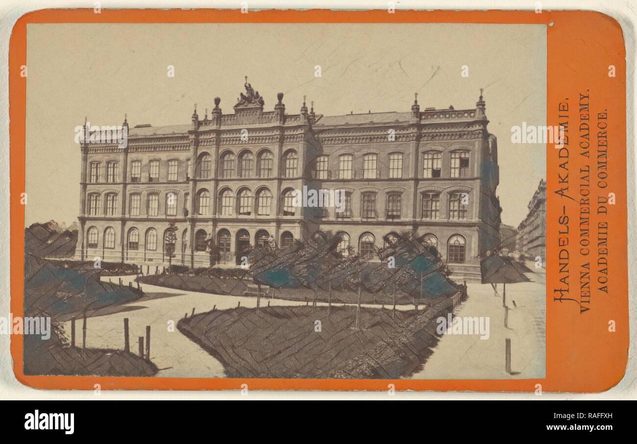 Handels-Akademie.,Vienna Commercial Academy, Oscar Kramer (Austrian, 1835 - 1892), 1865 - 1875, Albumen silver print reimagined - Stock Image
