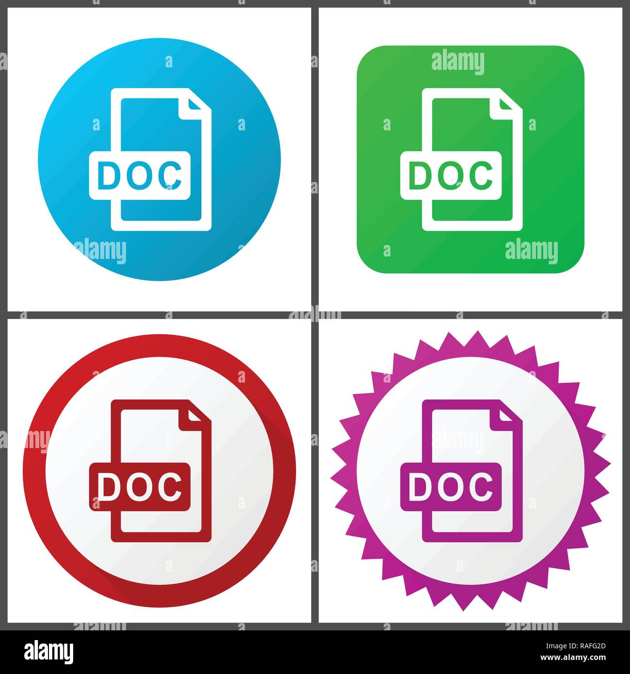 Doc file vector icon set. Flat design web icons in eps 10. Colorful internet buttons in four versions. - Stock Vector