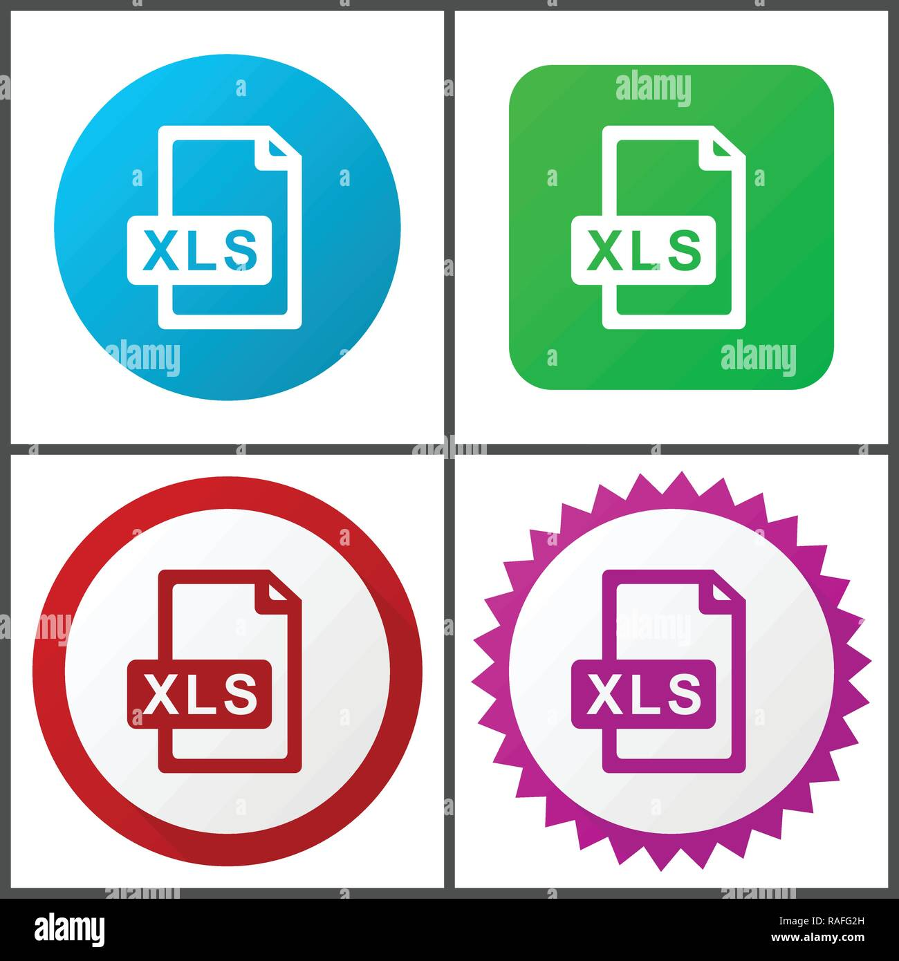 Xls file vector icon set. Flat design web icons in eps 10. Colorful internet buttons in four versions. - Stock Vector