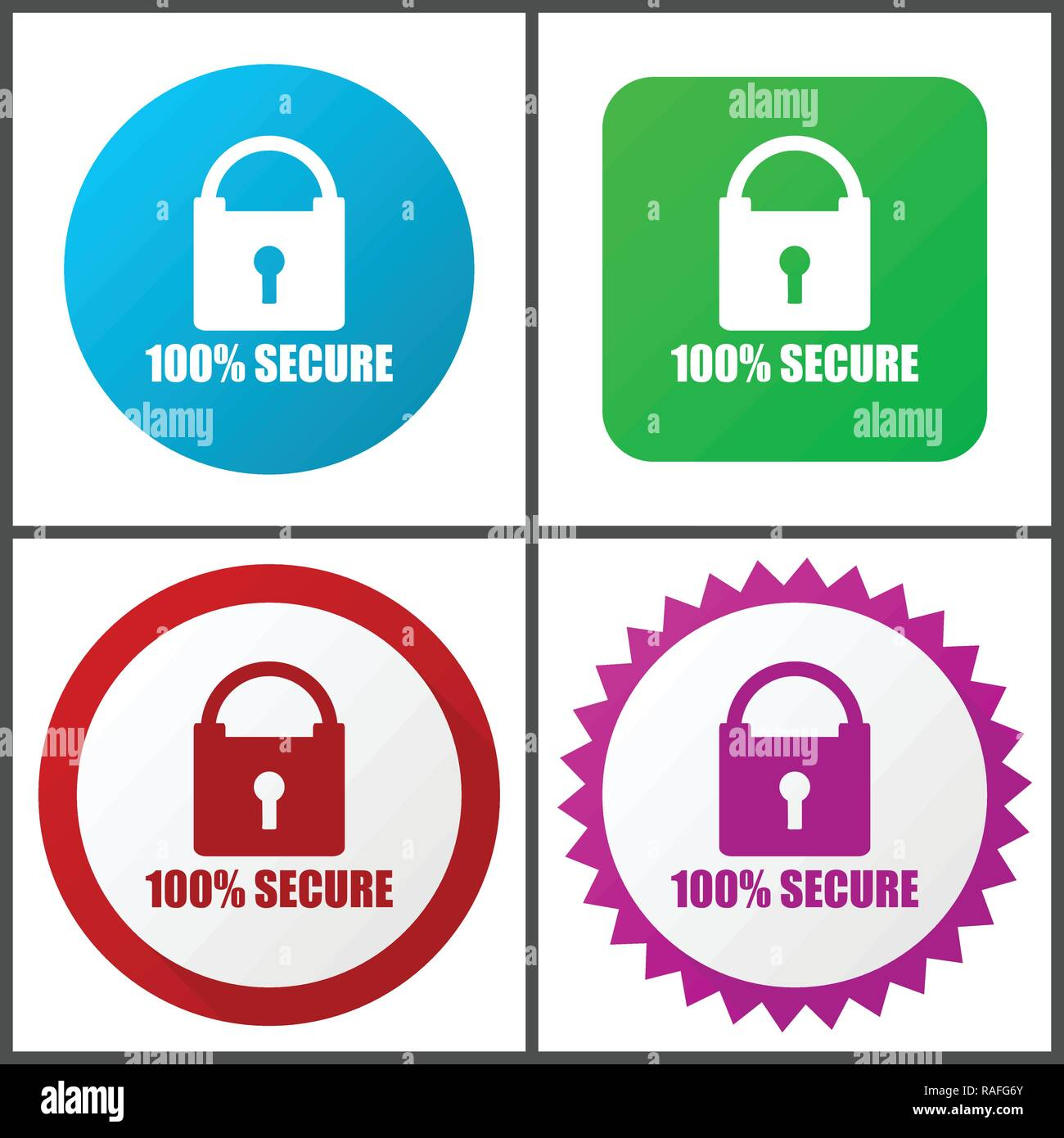 Secure vector icon set. Flat design web icons in eps 10. Colorful internet buttons in four versions - Stock Image