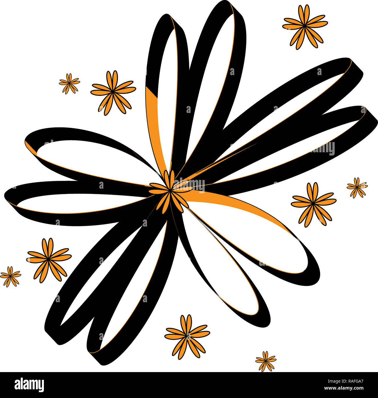 illustration ties forming a flower with 3d image in black and golden yellow color with white background - Stock Image