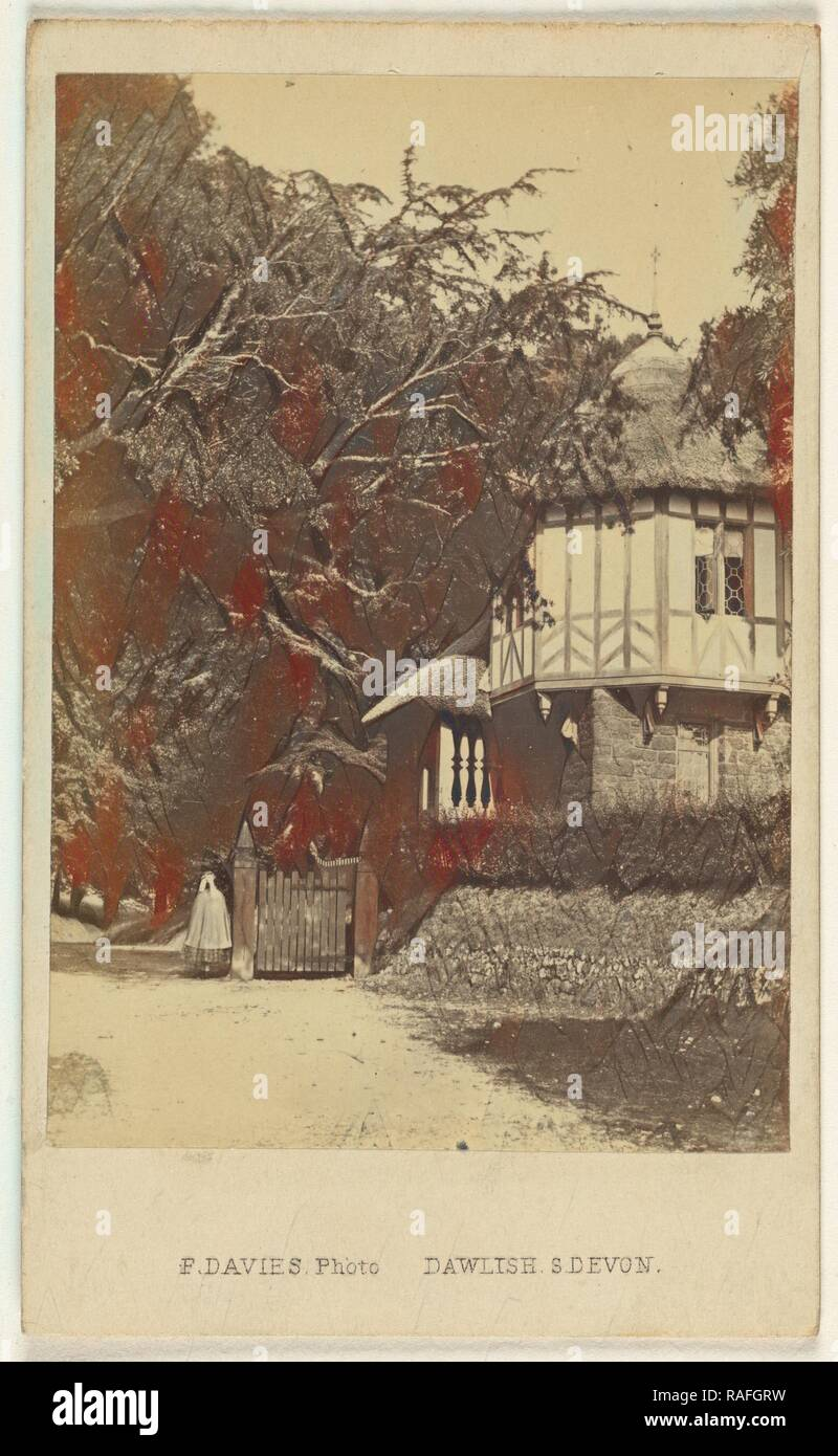 Entrance Lodge, Mamhead Park, F. Davies (British, active 1860s), 1865 - 1875, Albumen silver print. Reimagined - Stock Image