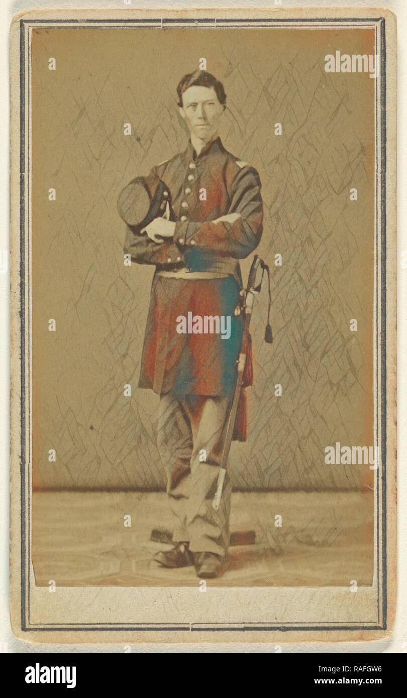 Confederate soldier standing with sword to hilt, holding cap, Edward Jacobs (American, born England, 1813 - 1892 reimagined - Stock Image
