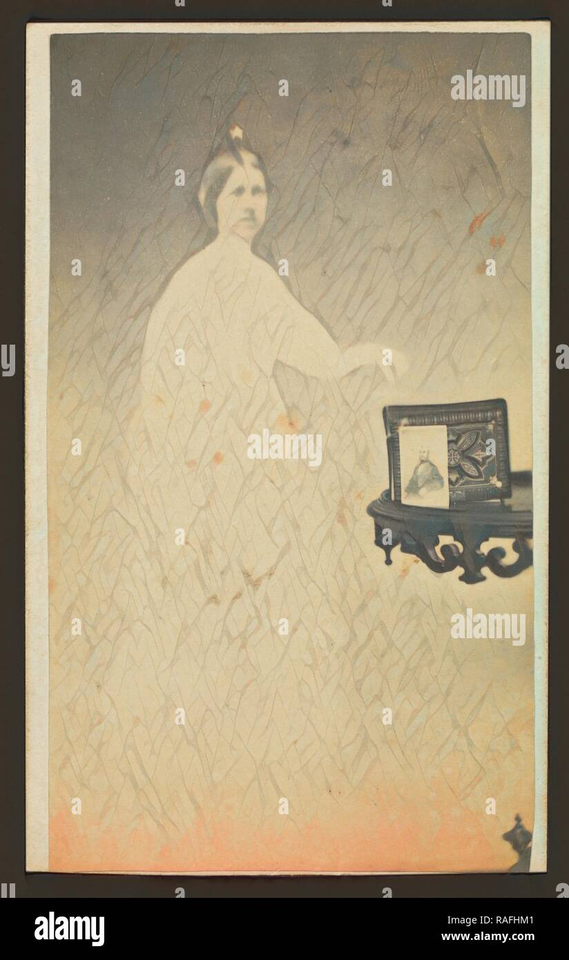 Female Spirit With A Carte De Visite On Table Propped Against An Album