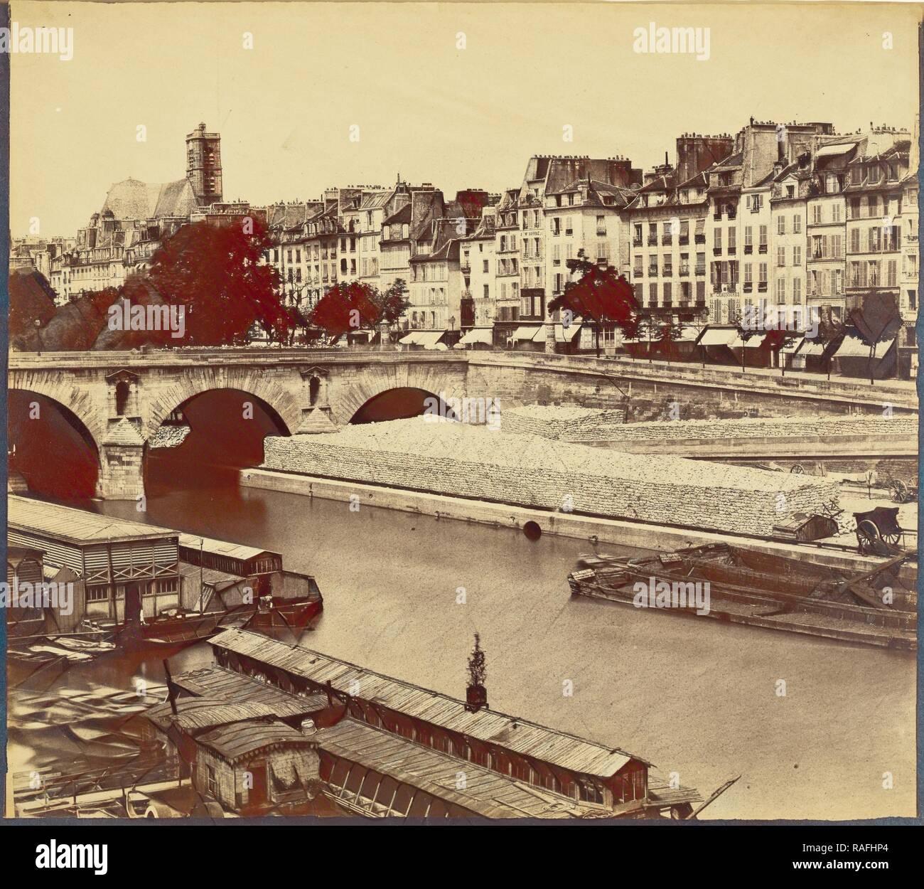 Le Pont Marie, et les quais des Celestins, vus du quai d'Anjou, Charles Nègre (French, 1820 - 1880), about 1859 reimagined - Stock Image