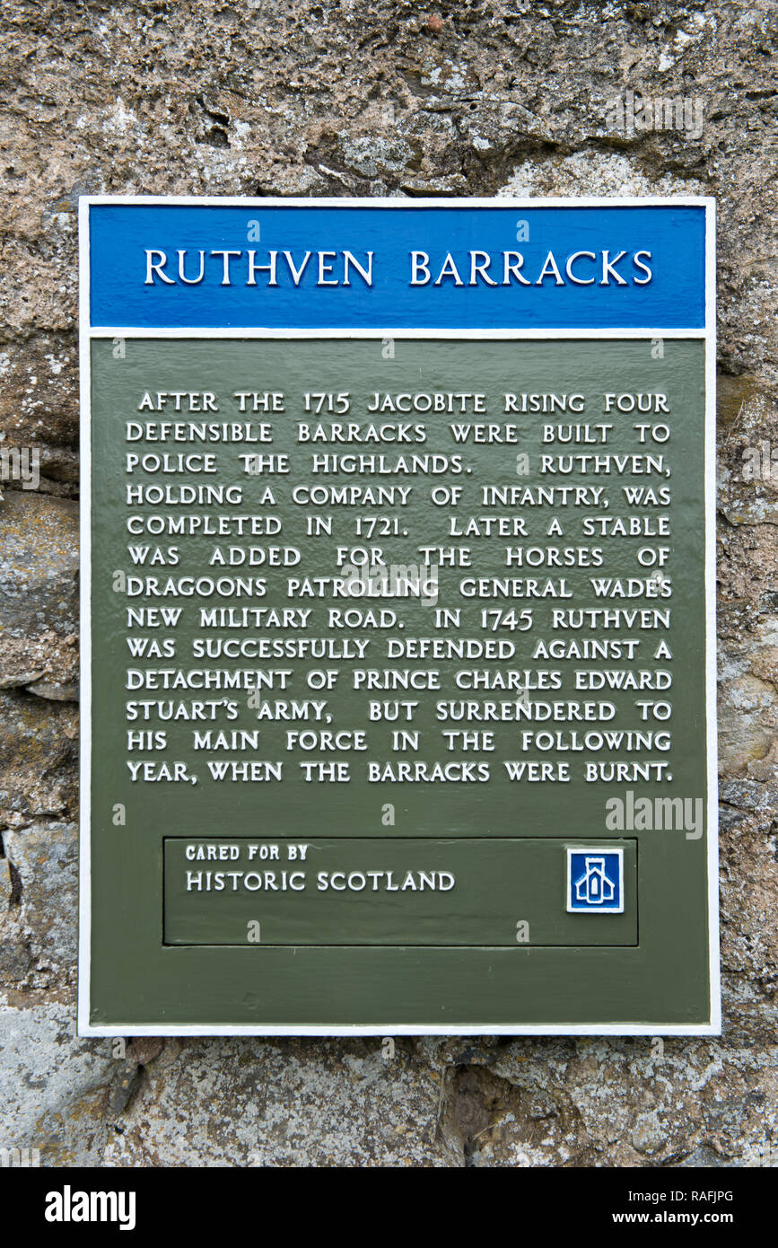 Sign on the wall of Ruthven Barracks, near Ruthven in Badenoch, Scotland, UK - Stock Image