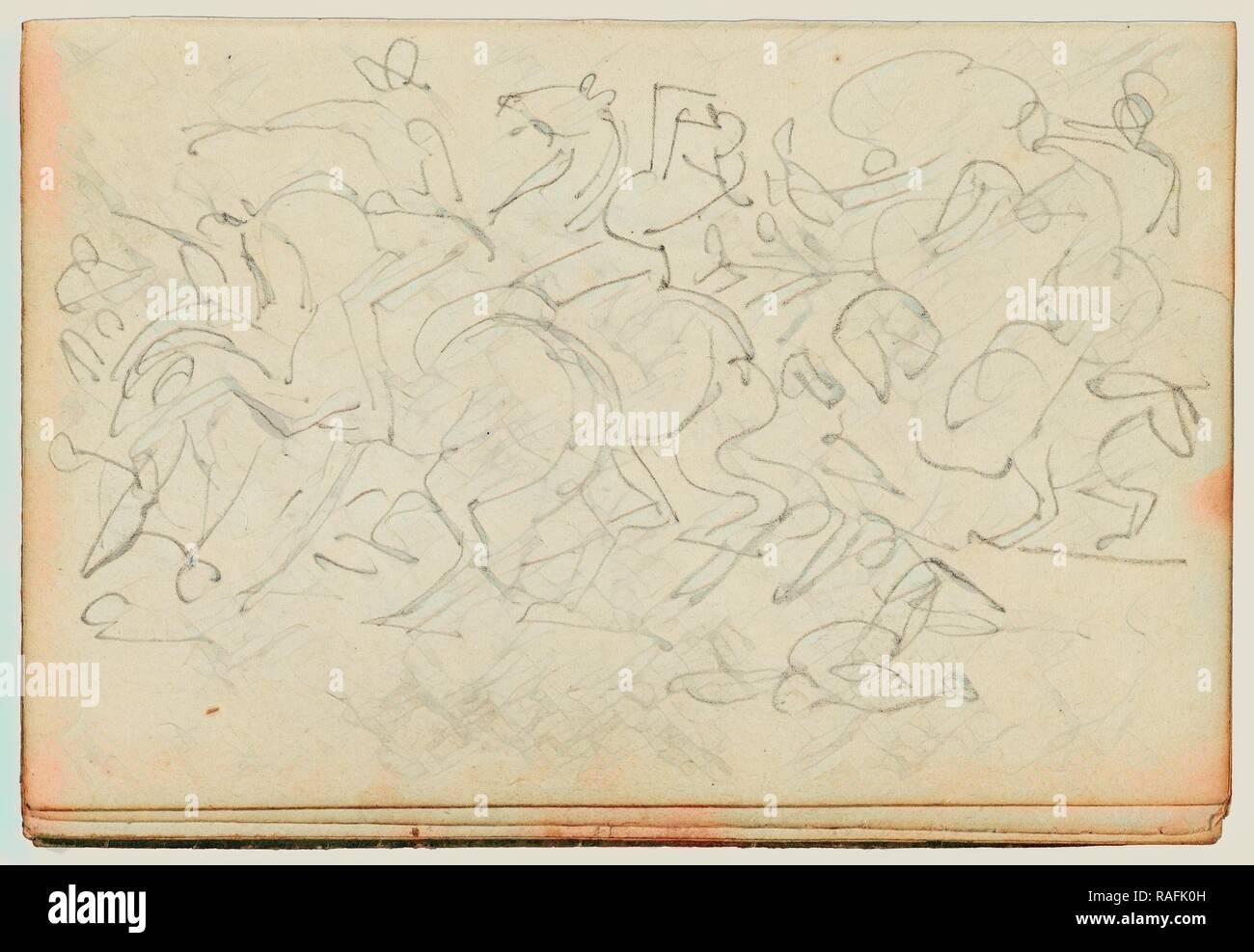 Cavalry Skirmish, Théodore Géricault (French, 1791 - 1824), 1812 - 1814, Graphite, 15.2 x 10.6 cm (6 x 4 3,16 in reimagined - Stock Image