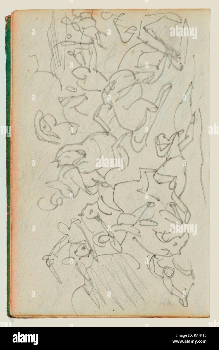 Cavalry Battle, Théodore Géricault (French, 1791 - 1824), 1812 - 1814, Graphite, 15.2 x 10.6 cm (6 x 4 3,16 in reimagined - Stock Image