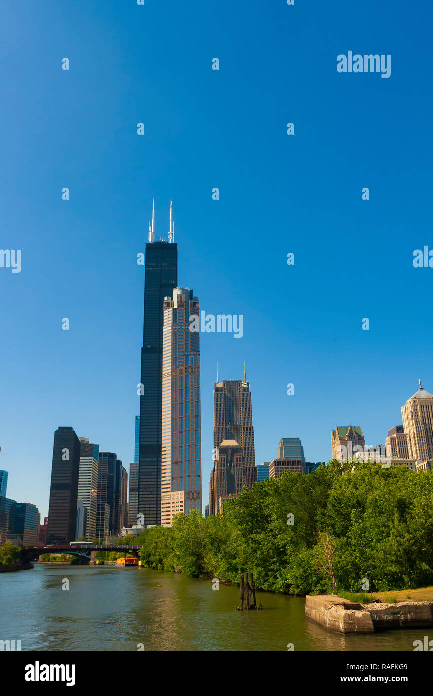 Chicago, Illinois, commonly known as the Windy-City, is the third most populated city in the United States. - Stock Image