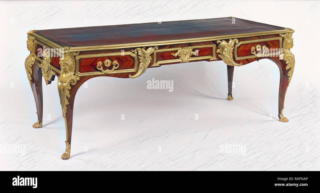 Writing Table (bureau plat), Attributed to Charles Cressent (French, 1685 - 1768 (master 1719)), Paris, France, about reimagined - Stock Image