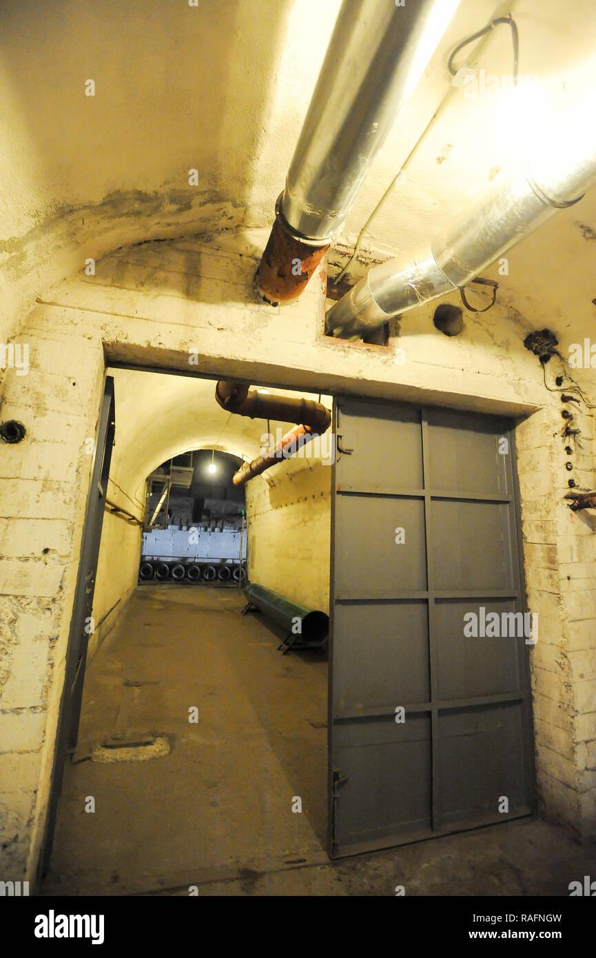 Nuclear blast-proof doors of nuclear arsenal of Morskij Muziejnyj Komplieks Balaklava (Naval museum complex Balaklava) in Balaklava, Crimea, Ukraine.  - Stock Image