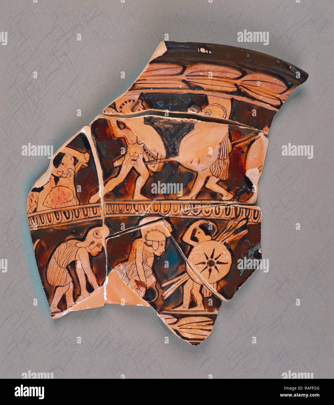 Attic Red-Figure Calyx Krater Fragment, Athens, Greece, about 430 B.C, Terracotta. Reimagined by Gibon. Classic art reimagined - Stock Image