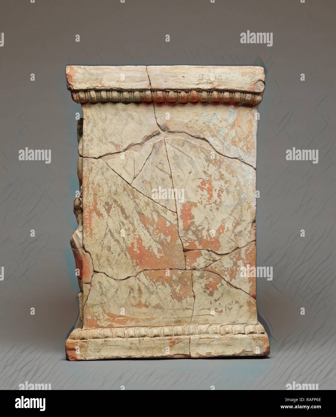 Altar with the Myth of Adonis, Calabria, Italy, 425 - 375 B.C, Terracotta with yellowish diluted clay, white slip and reimagined - Stock Image