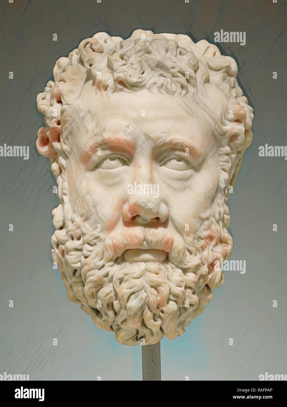 Head of a Bearded Man, Greece (?), 200 - 225, Marble, 33.4 × 23 × 25.5 cm (13 1,8 × 9 1,16 × 10 1,16 in.). Reimagined - Stock Image