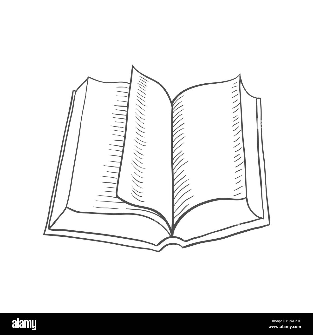 Open book isolated on white background  Vector black vintage
