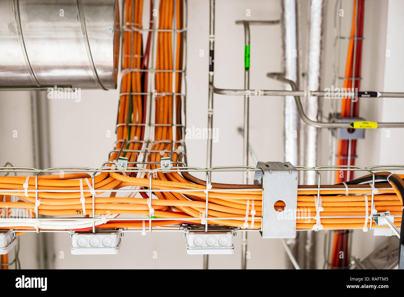 Super Electrical Wiring In A Modern Building Stock Photo 230230005 Alamy Wiring Cloud Toolfoxcilixyz