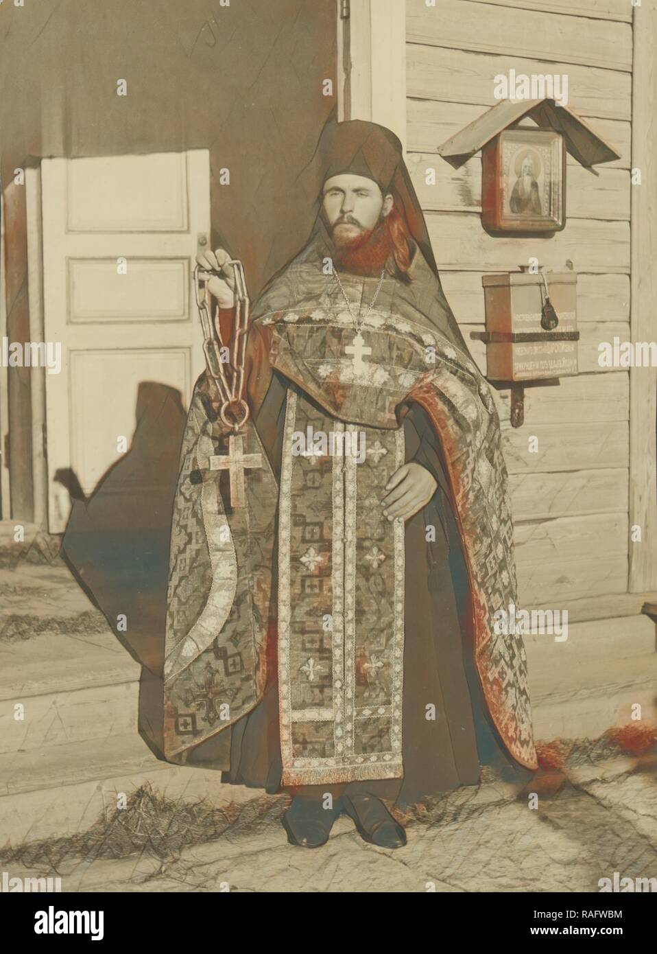Priest with an old miracle-working cross, Karl Karlovitz Bulla (Russian, 1854 - 1929), 1913, Gelatin silver print, 18 reimagined - Stock Image