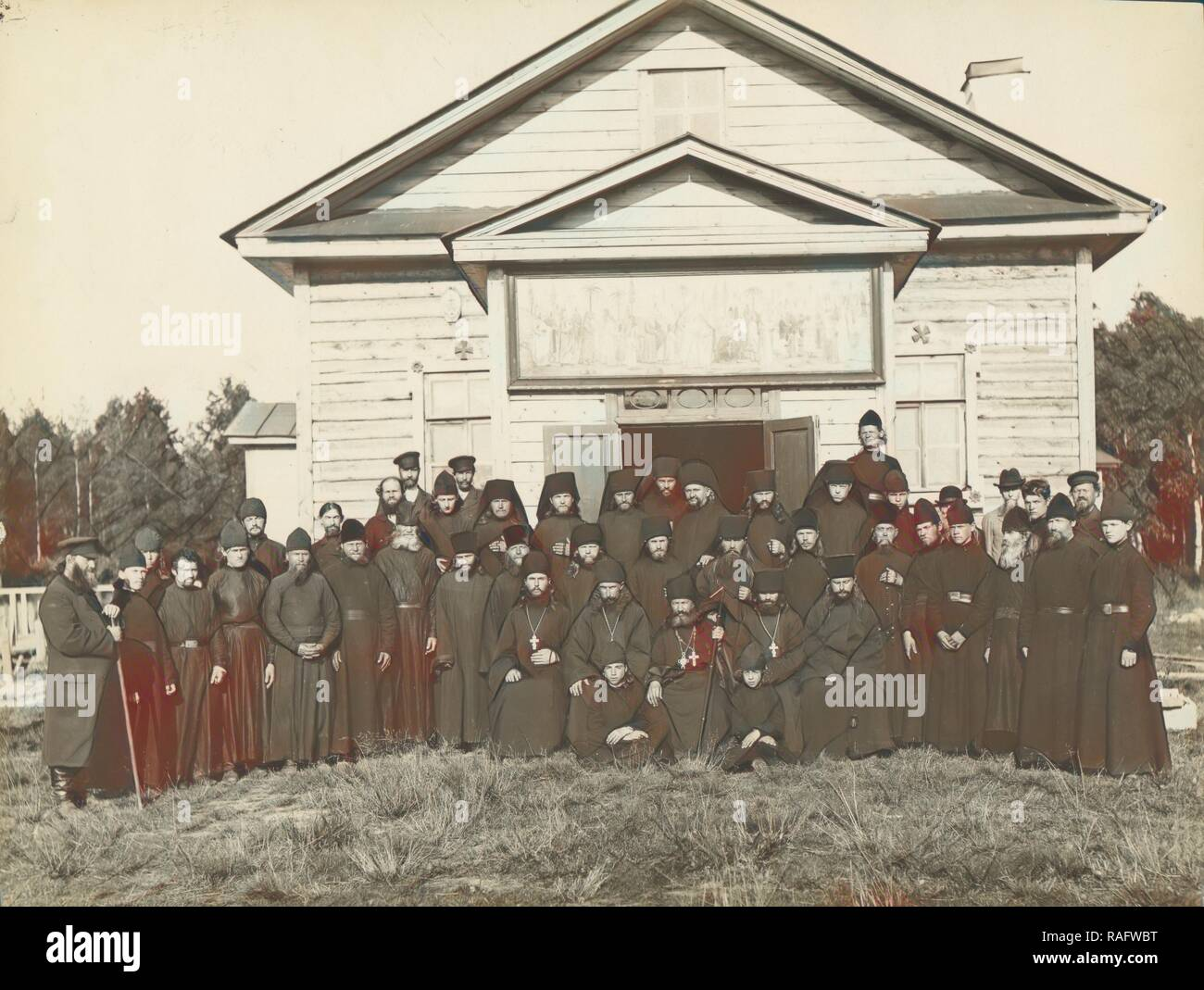 Makarevsky Retreat, Group of priests, Karl Karlovitz Bulla (Russian, 1854 - 1929), 1913, Gelatin silver print, 16.8 x reimagined - Stock Image