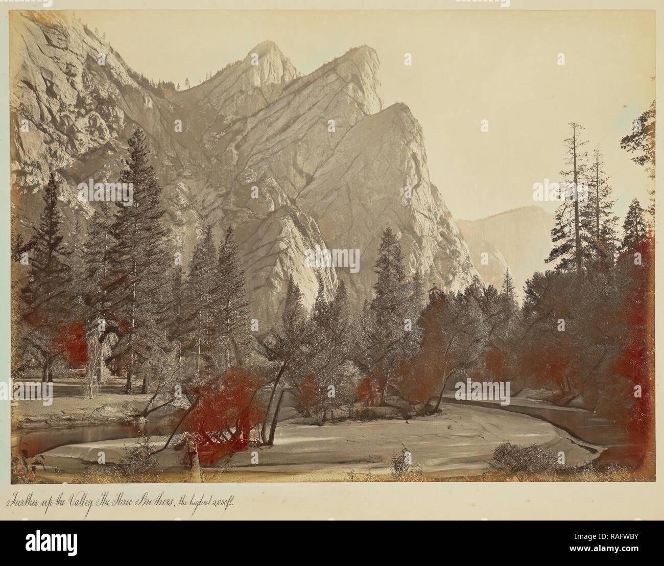 The Three Brothers, 4,480 Feet, Yosemite, No. 804, Carleton Watkins (American, 1829 - 1916), Yosemite, California reimagined - Stock Image