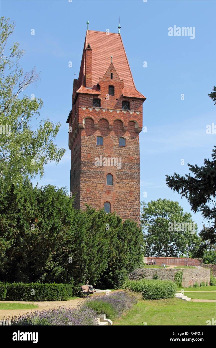 The Keep or Lookout tower in Tangermuende, Germany Stock Photo