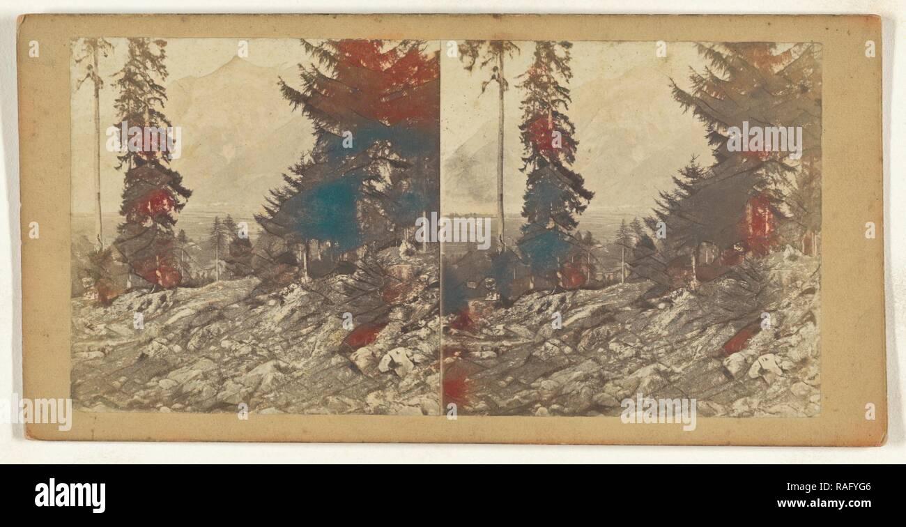 Vue prise a Seitorf pres Altorf. Canton d'Uri Suisse, Switzerland, about 1865, Albumen silver print. Reimagined - Stock Image